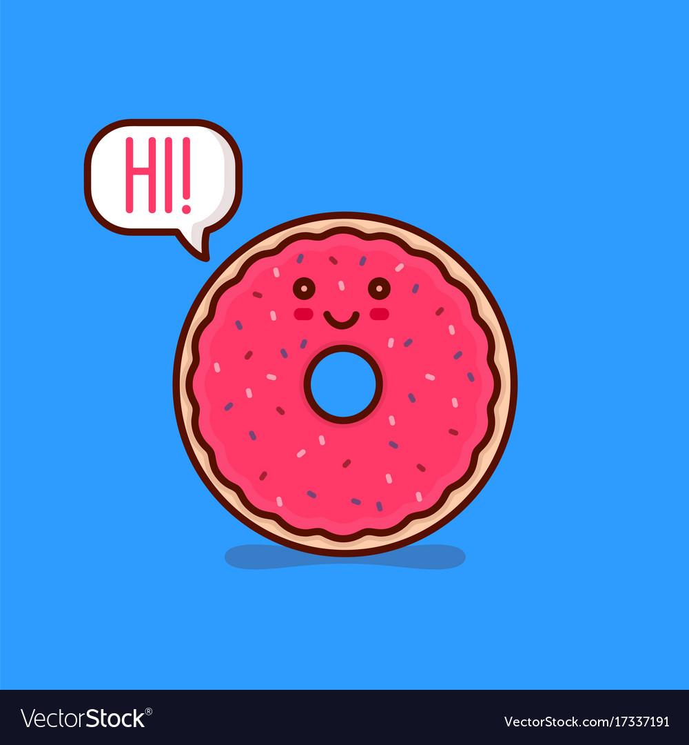 cute happy smiling tasty pink donut say hi vector image
