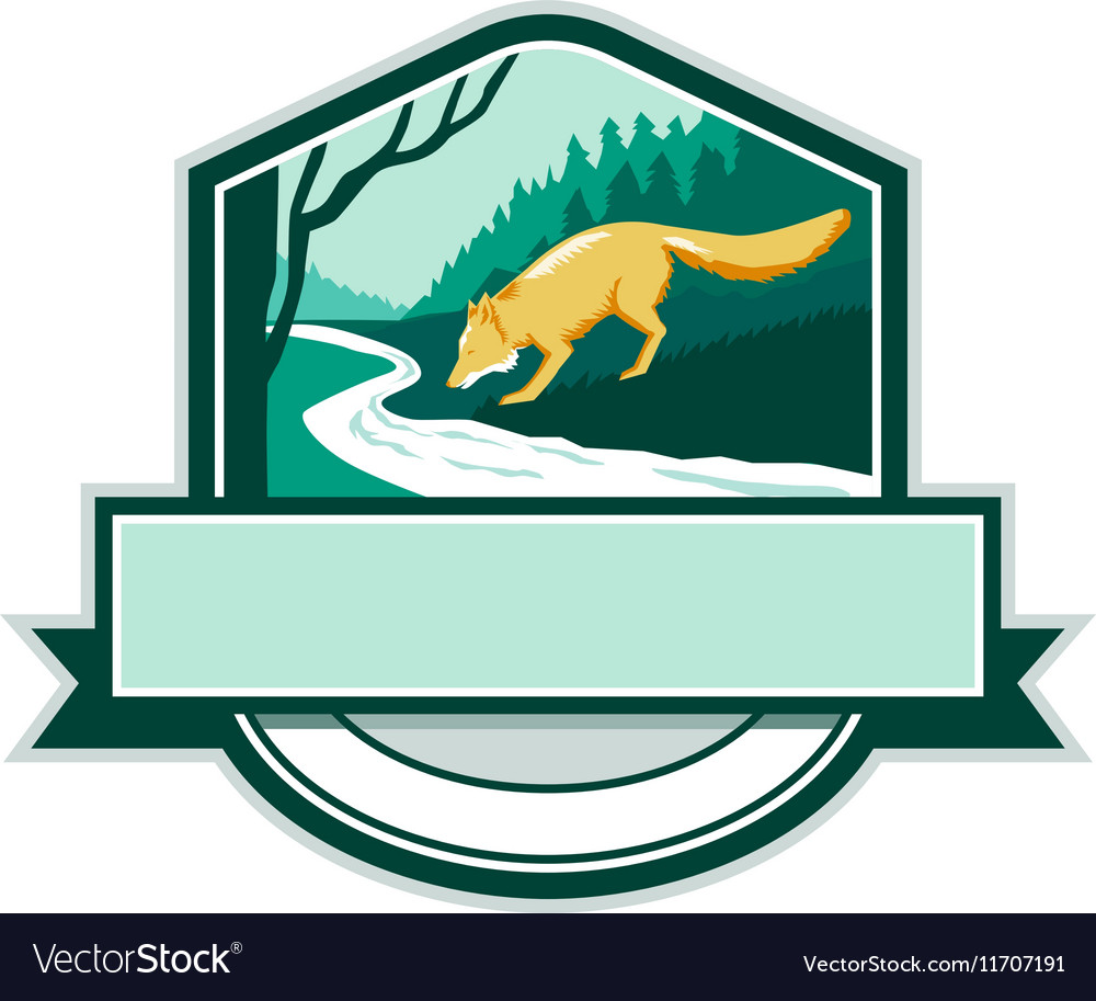 Fox Drinking River Creek Woods Crest Woodcut