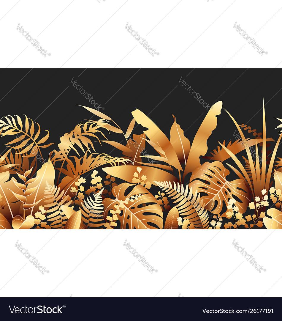 Golden tropical plants seamless border