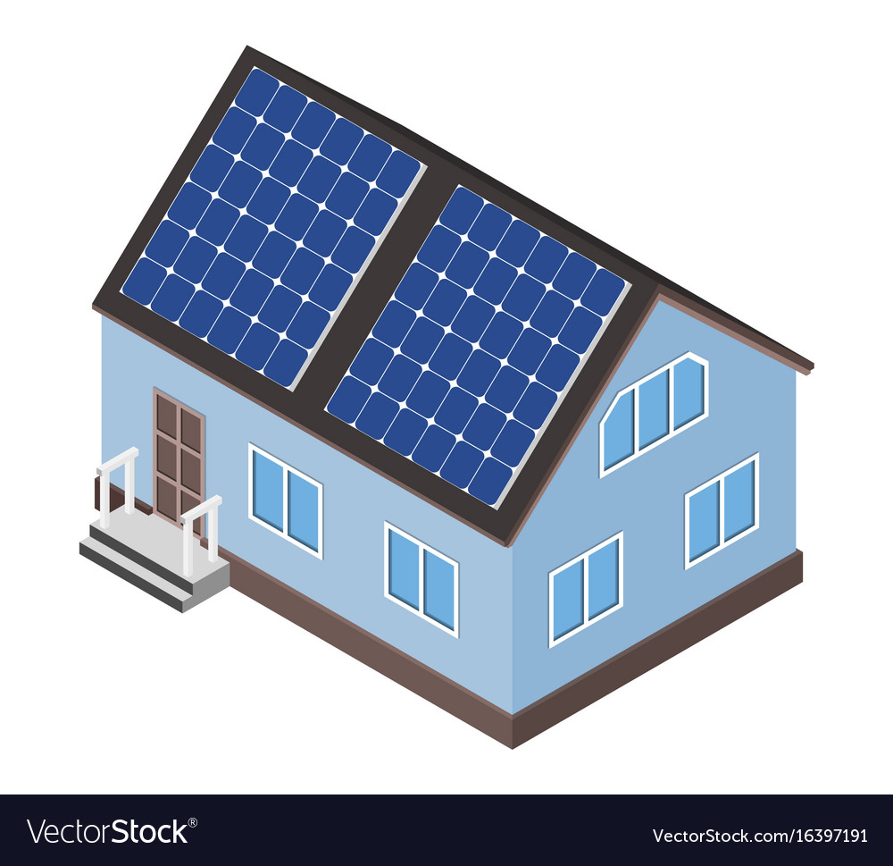 House with solar panel on roof