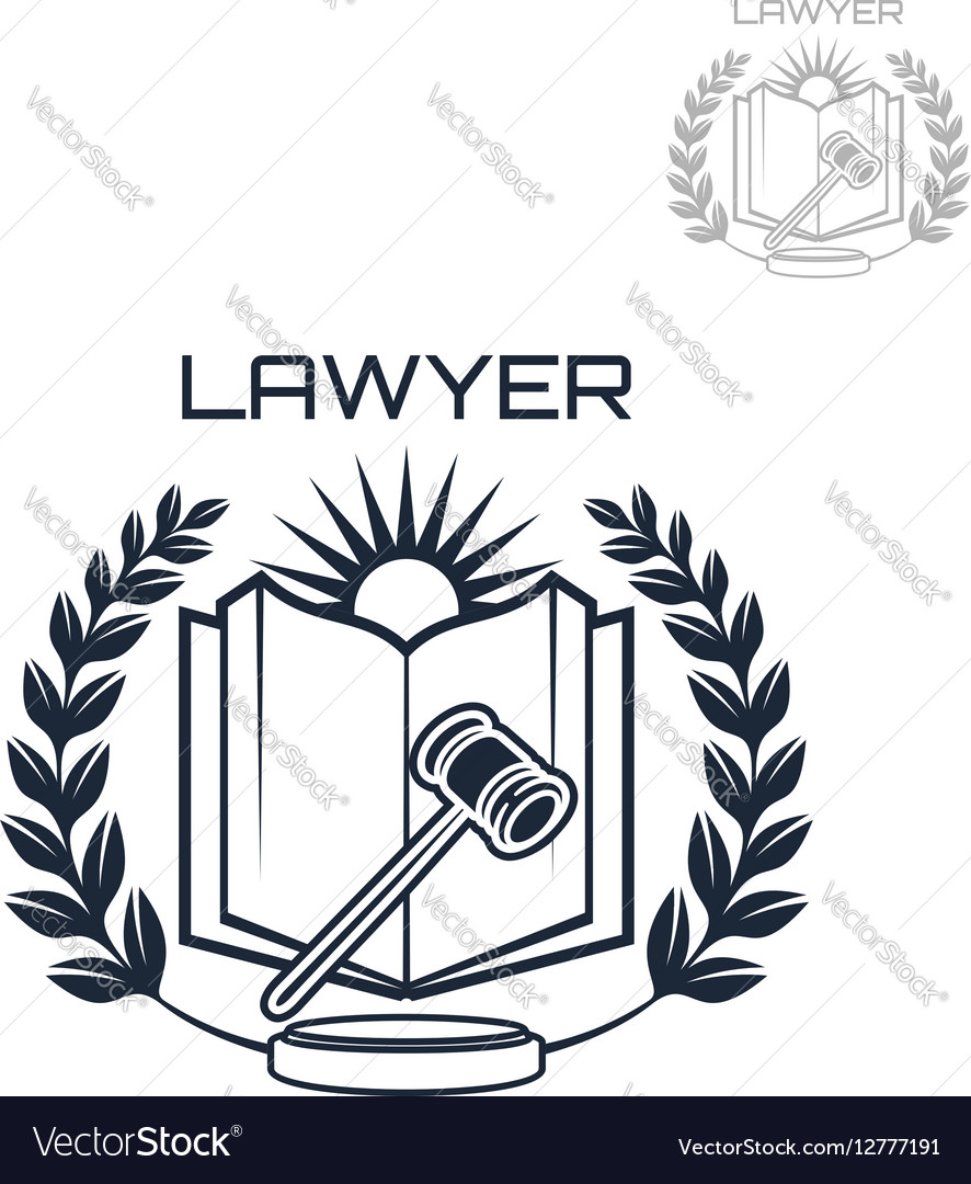 Lawyer emblem of wreath book and gavel Royalty Free Vector