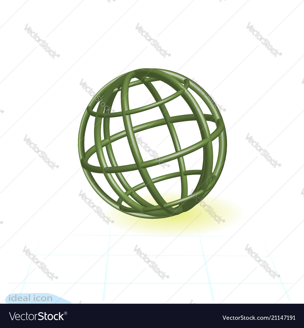 Linear 3d icon green globe green tubes in shape