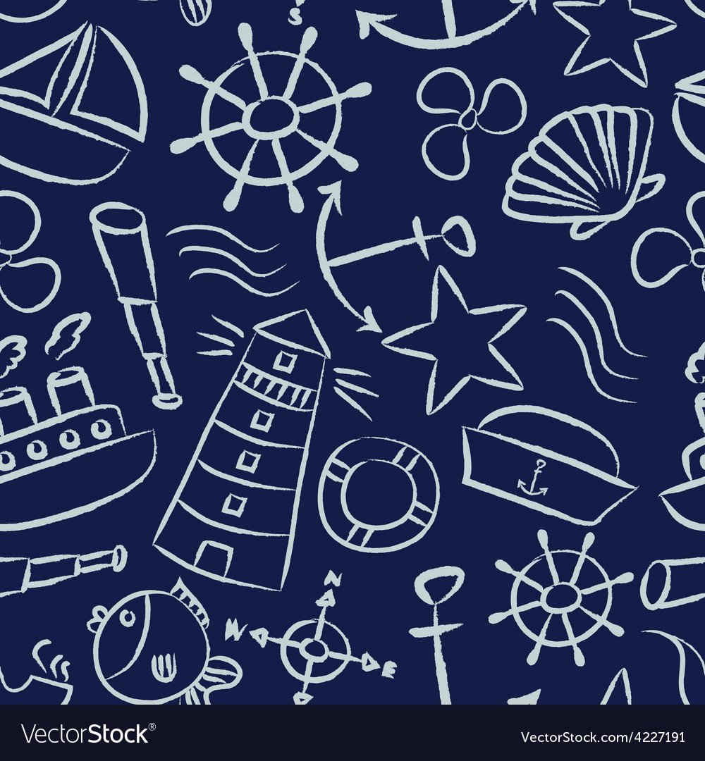 Nautical sketch doodle icons seamless blue pattern