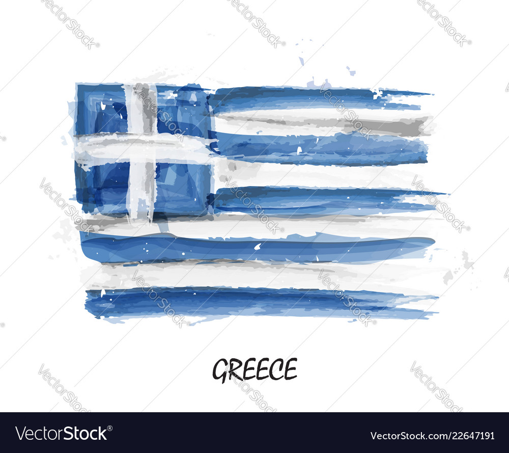 Realistic watercolor painting flag of greece