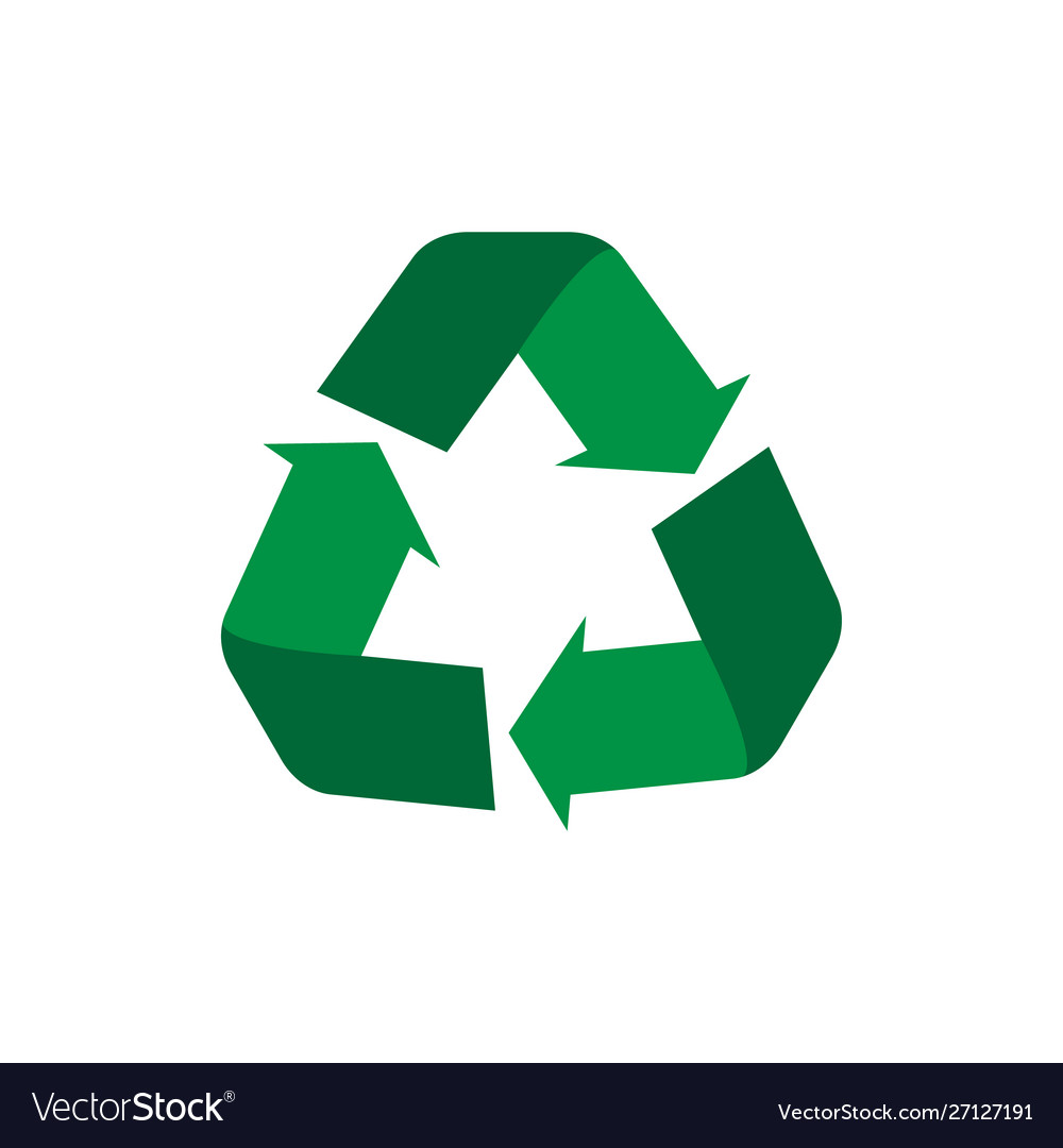 Recycle symbol flat icon concept world
