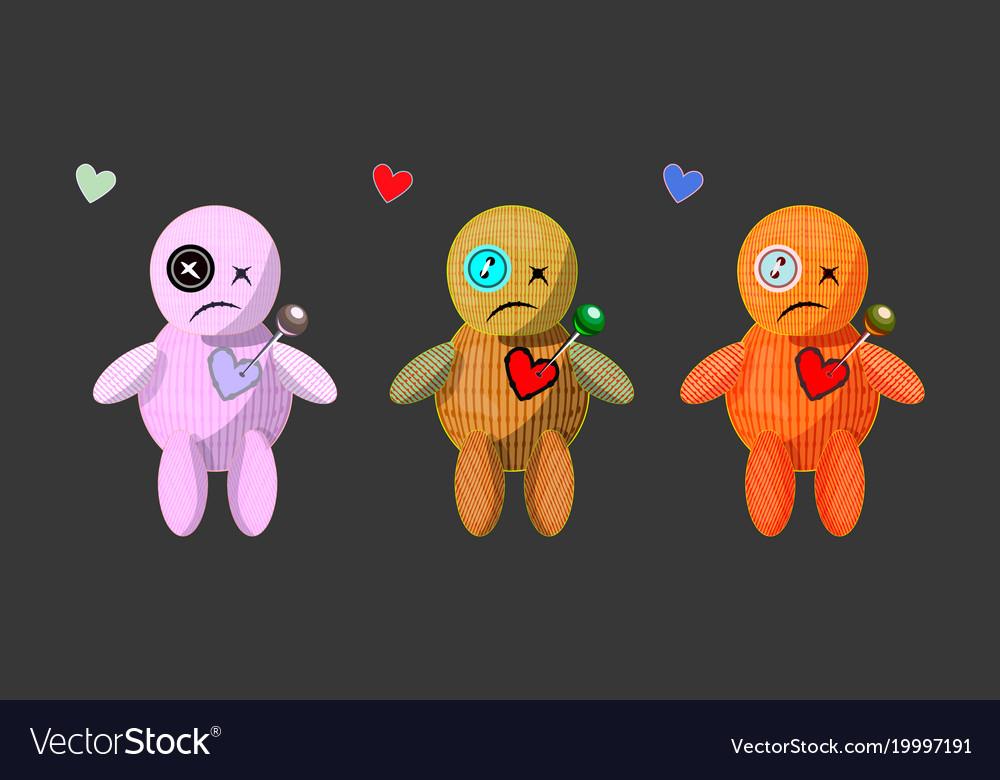 Set of cute cartoons rag voodoo dolls vector image