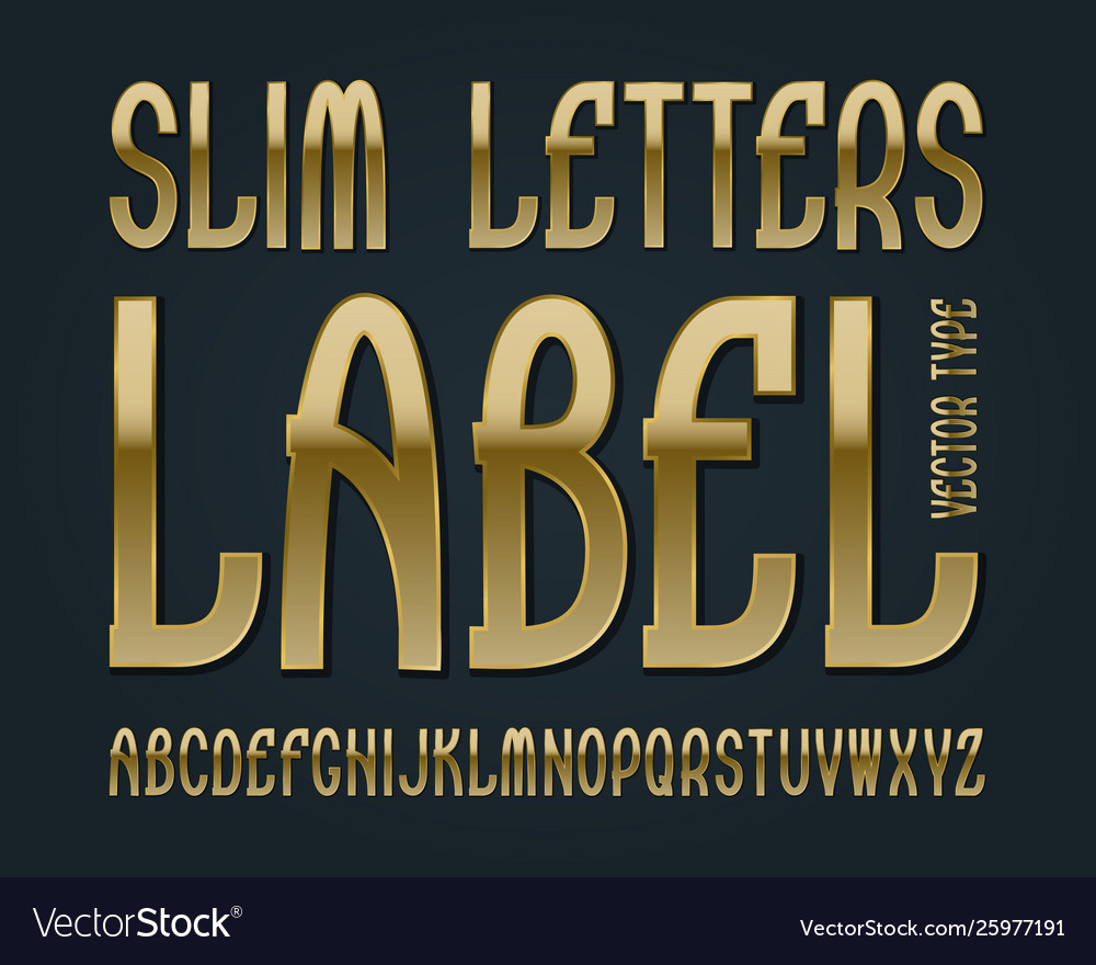 Slim letters label typeface golden font isolated