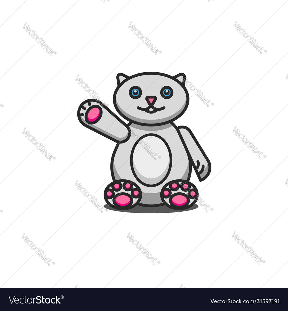 Toy fat cat cute cartoon character sits