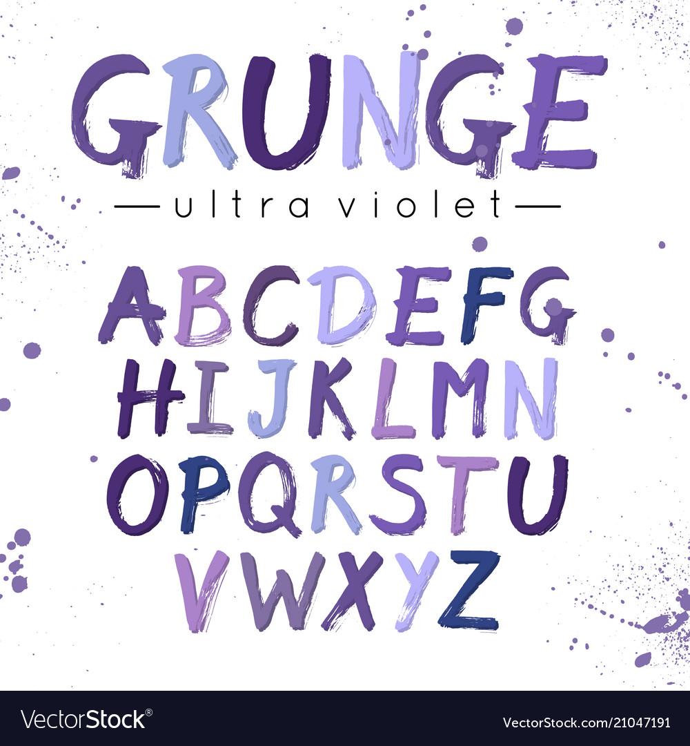 Ultra violet grunge font modern brush lettering
