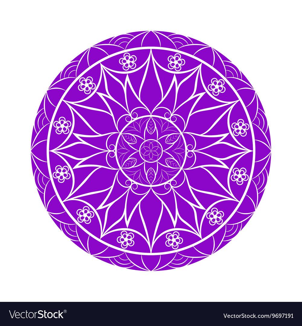Violet Color Flower Mandala Over White Vector Image