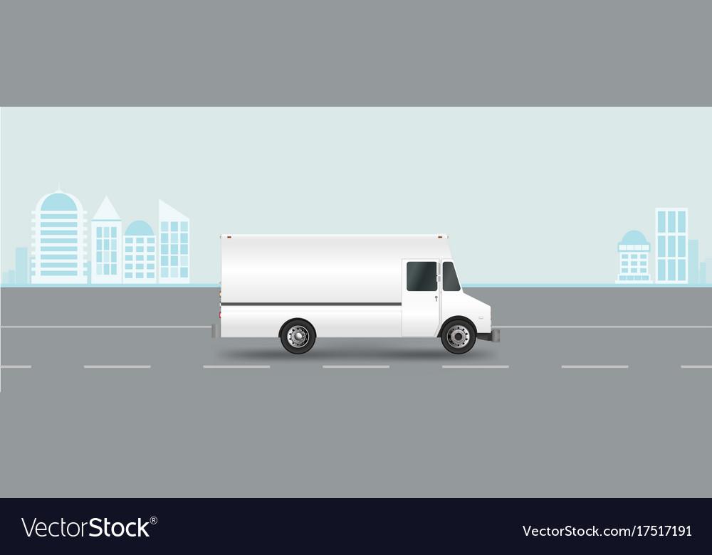 White truck on road cargo van