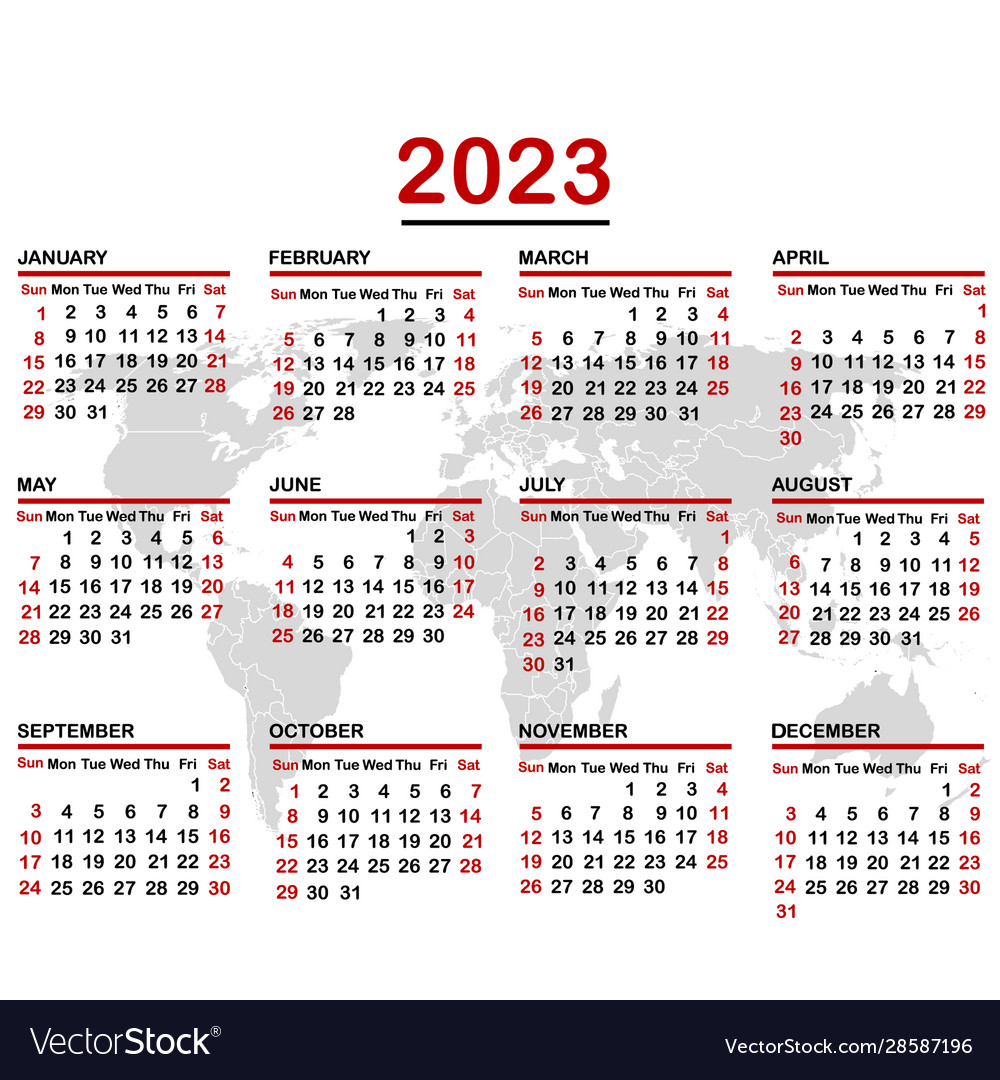 Uci 2022 2023 Calendar.2023 Calendar With World Map Royalty Free Vector Image