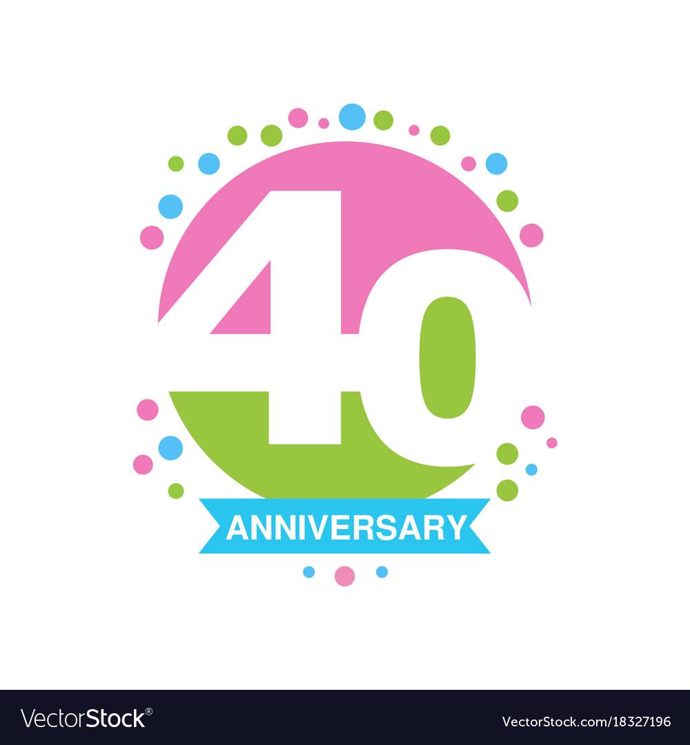 40th anniversary colored logo design happy