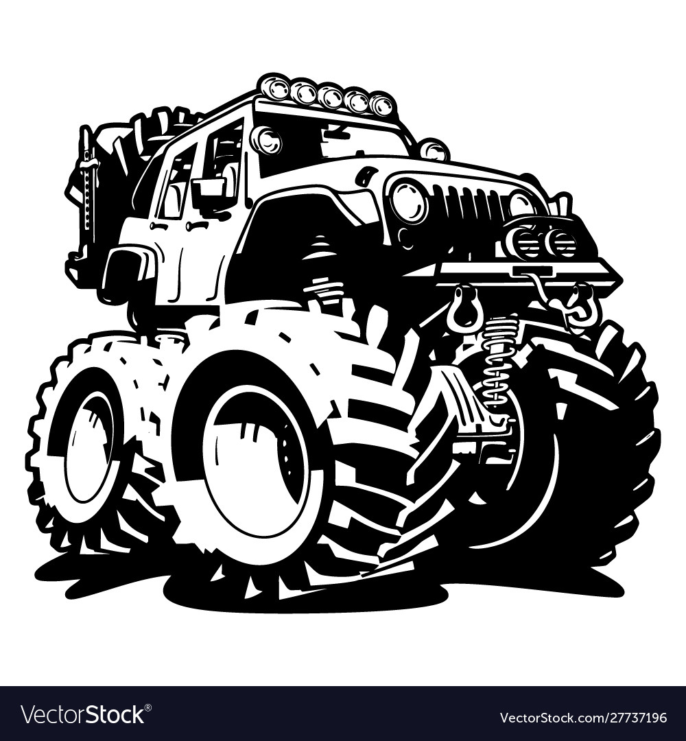 4x4 off road black and white cartoon