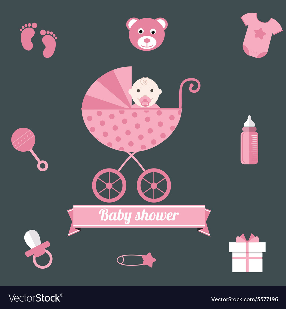 Baby shower icons set girl pink