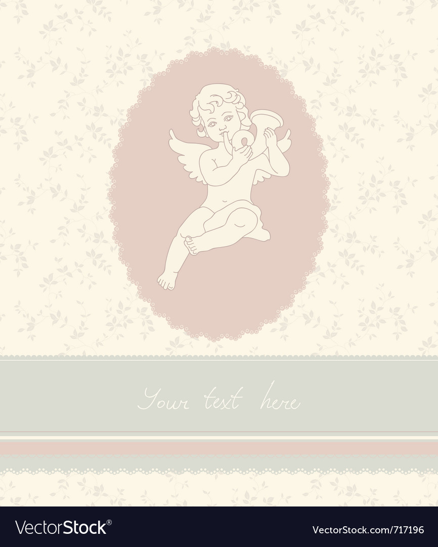 Background with angel in vintage style vector image