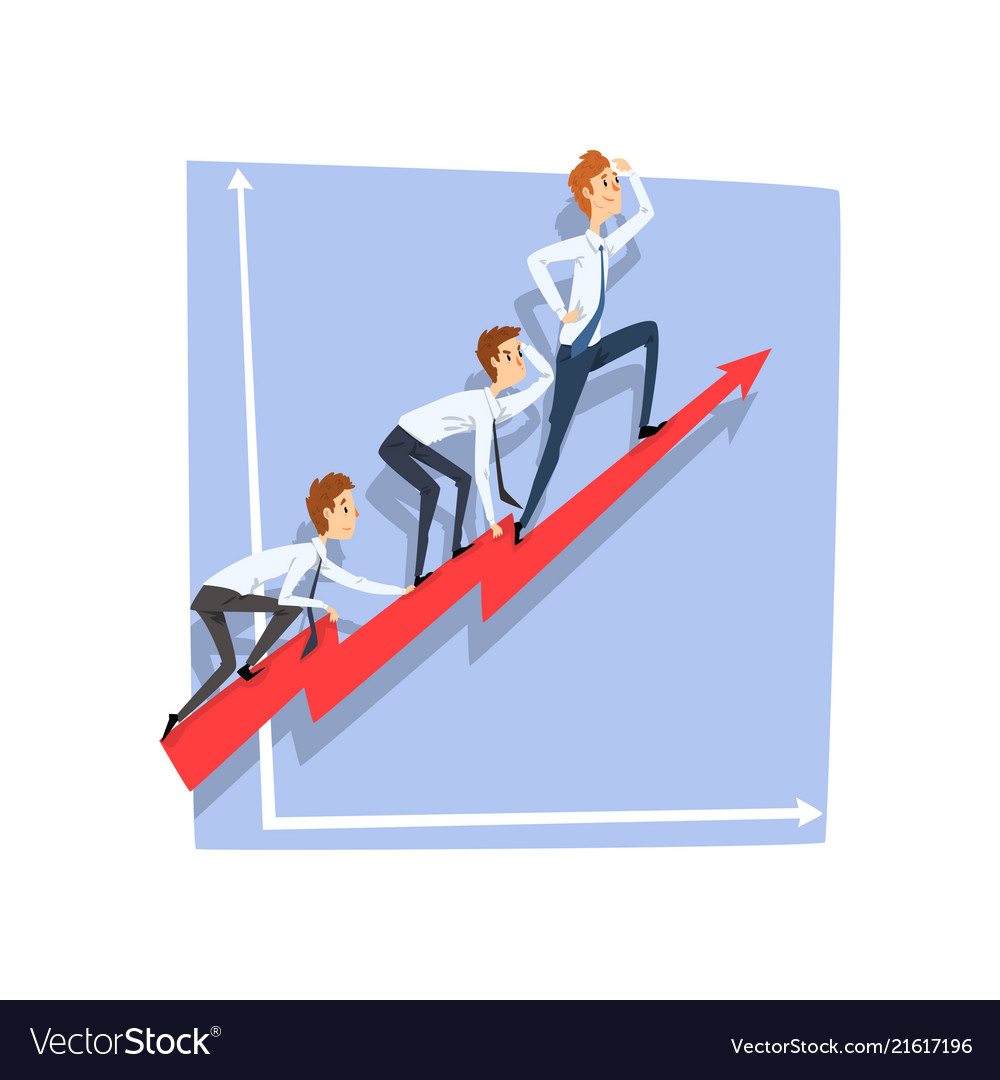 Business people climbing together on red arrow top