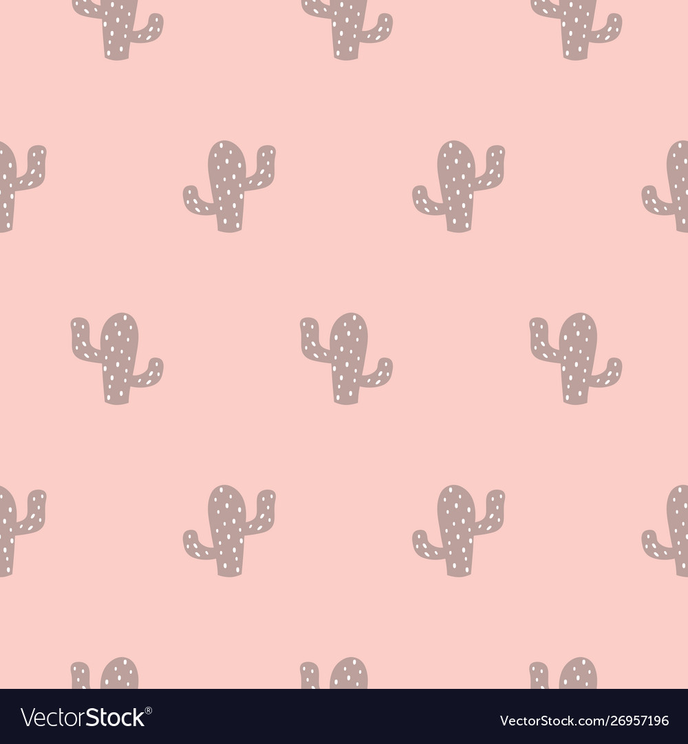Cactus succulent seamless pattern cute pink girl
