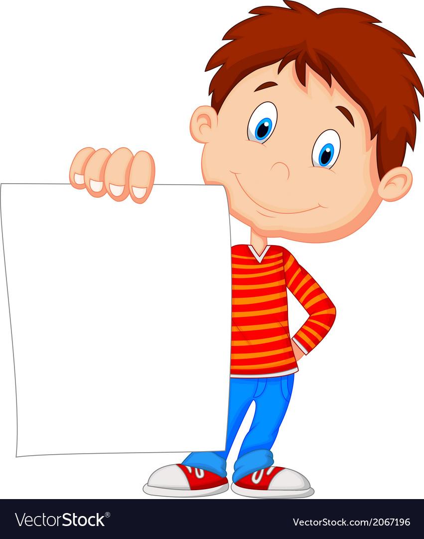 Cartoon Boy Holding Blank Paper Royalty Free Vector Image - Cartoon-boy-images-free