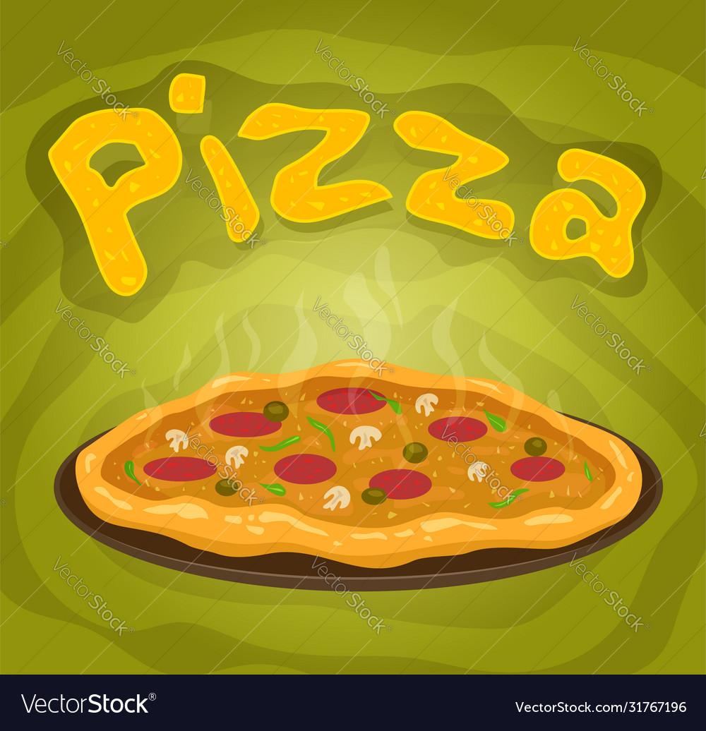 Cartoon hot italian pizza with salami and mushroom