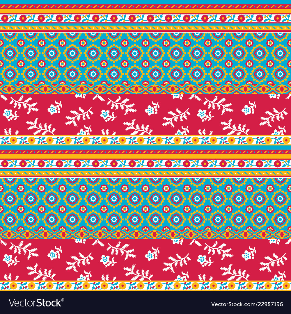 Colorful abstract striped flower and paisley