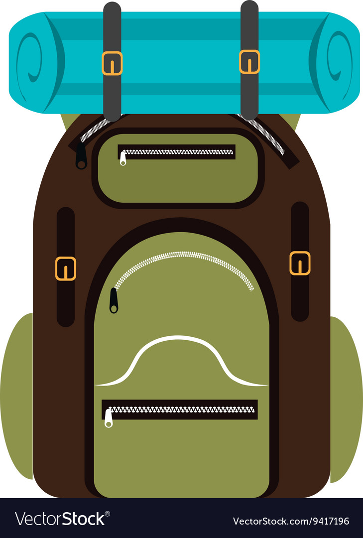 Colorful camping backpack graphic