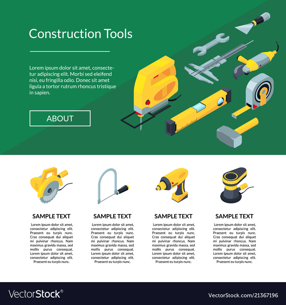 Construction tools isometric icons website
