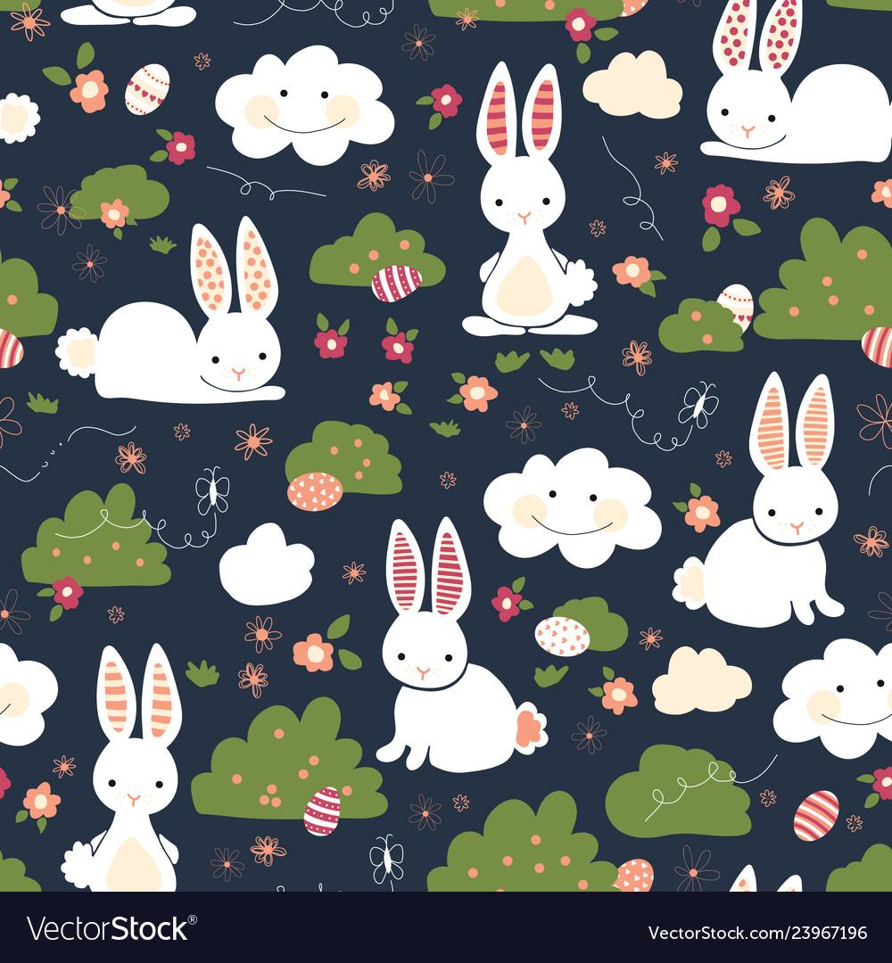 Cute easter bunnies seamless kids pattern