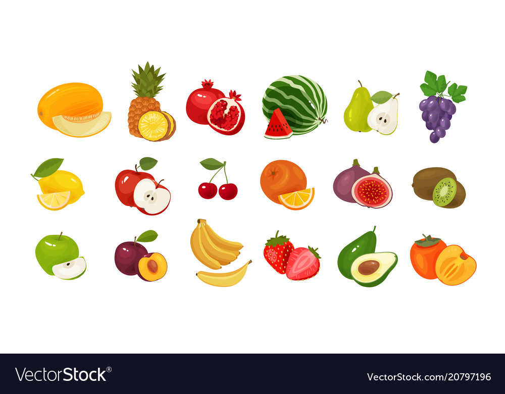 Fruits and berries set of colored icons food