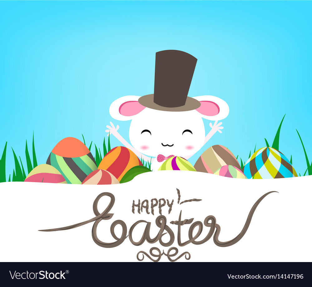 Happy easter eggs and bunny banner