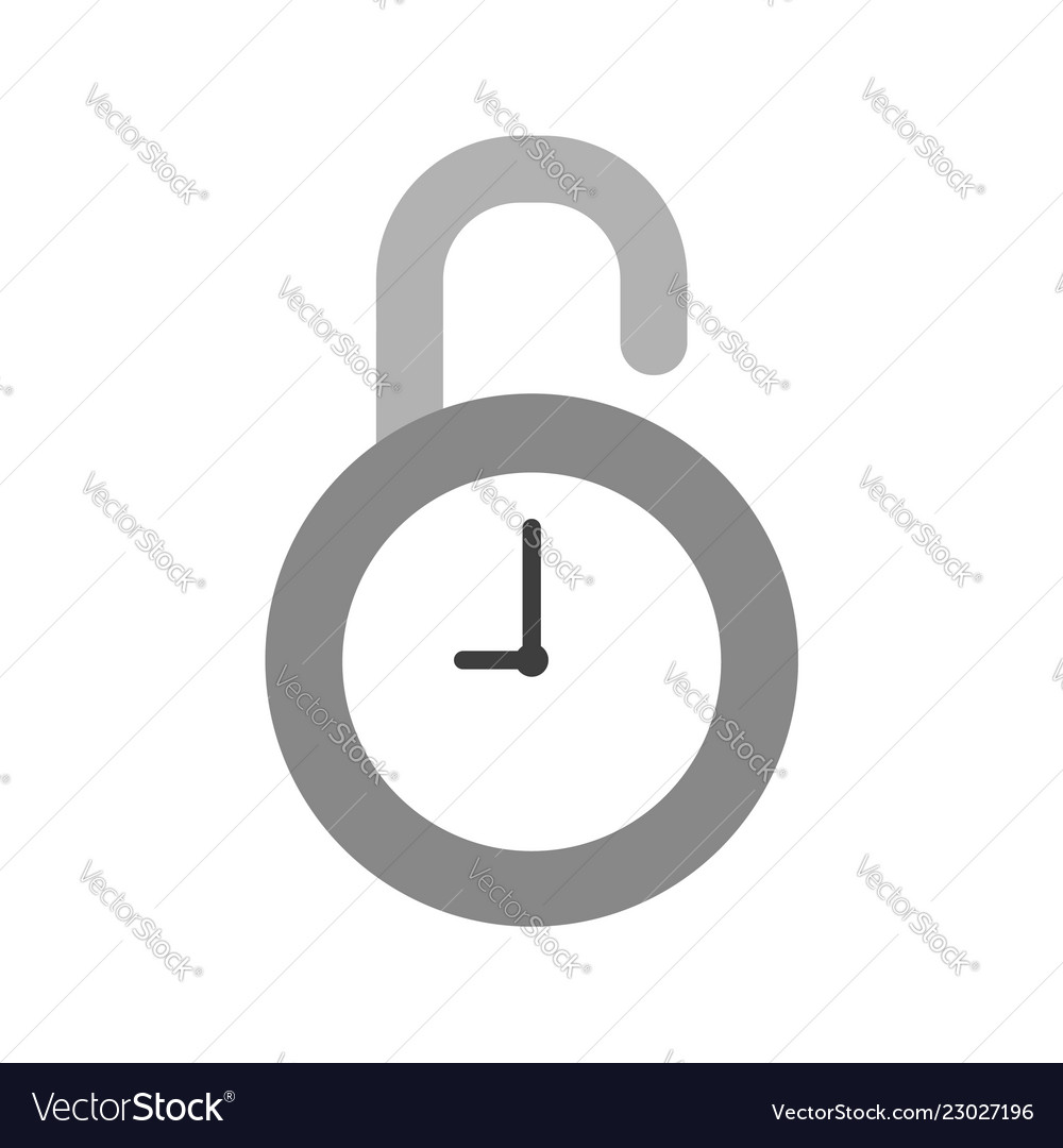 Icon concept of opened clock padlock