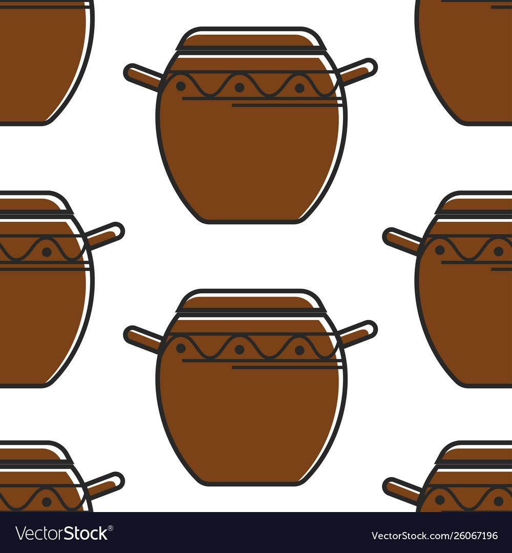 Korean pottery seamless pattern clay saucepan