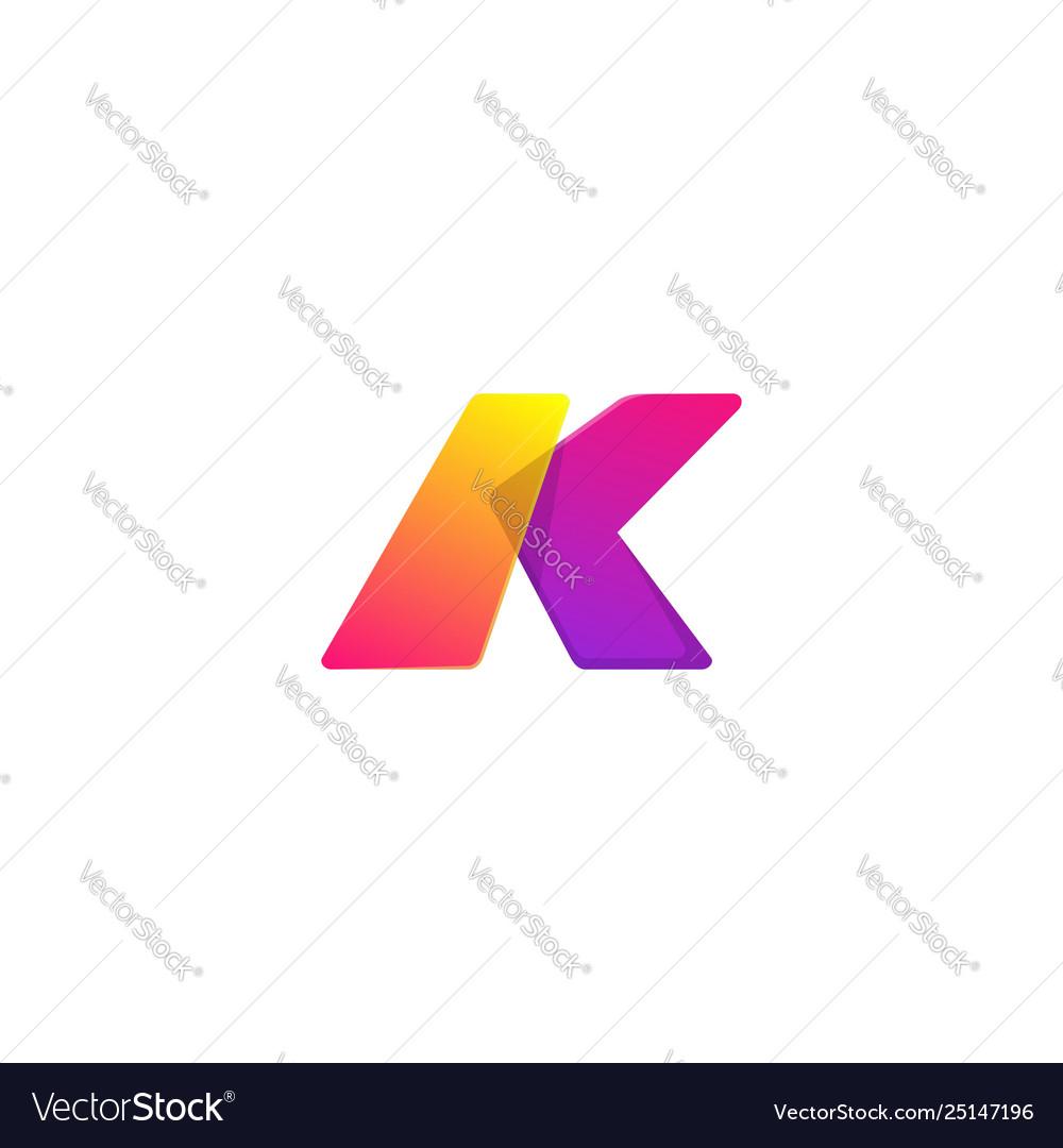 Letter k colors logo template concept