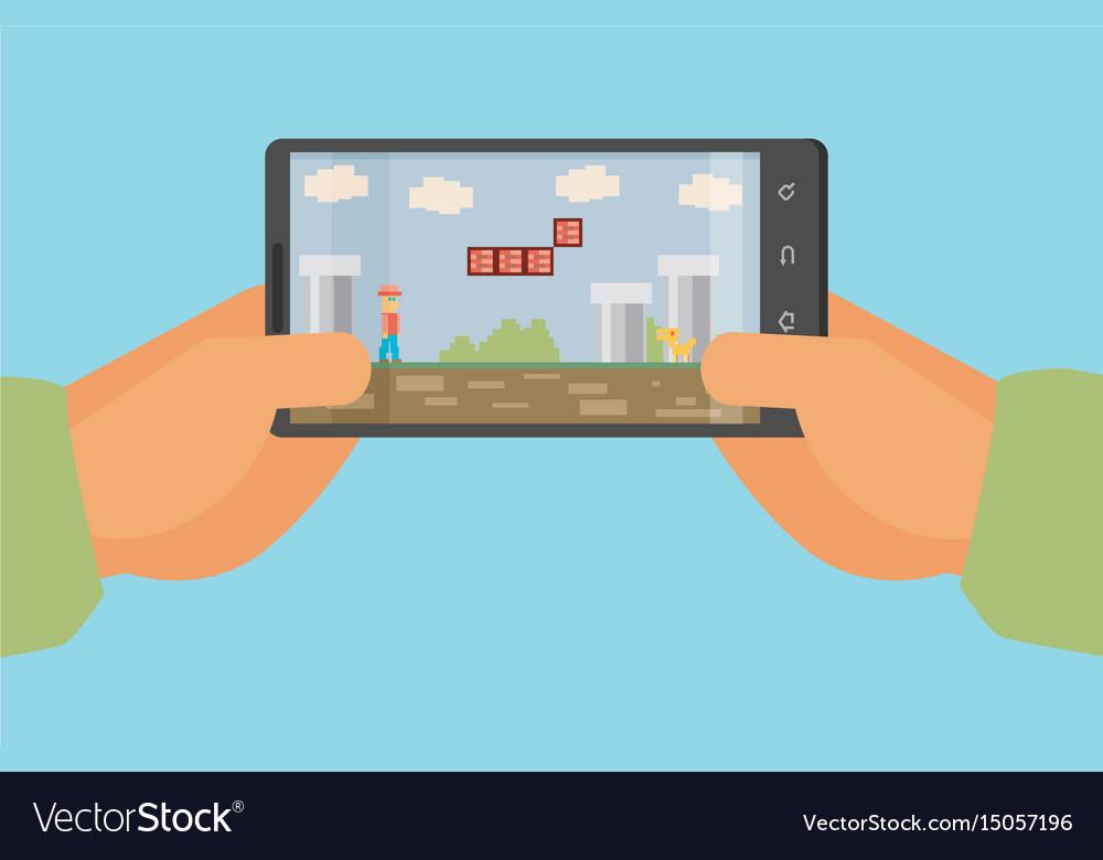 Mobile gaming concept flat design eps10 format