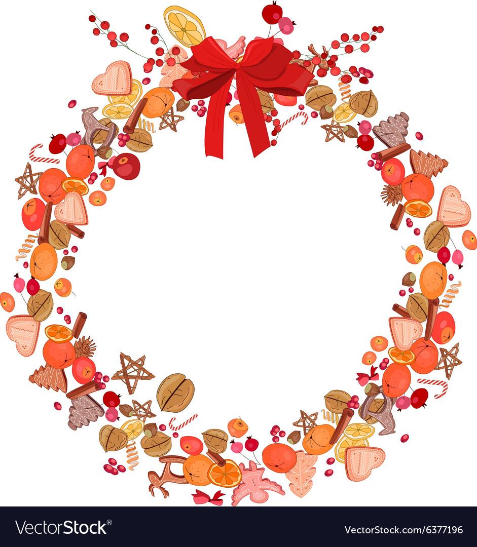 Round festive wreath on white