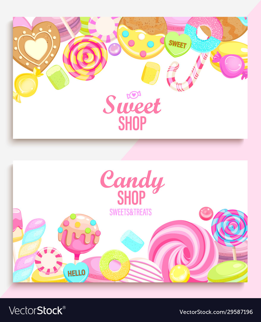 Set candy and sweet shop banners