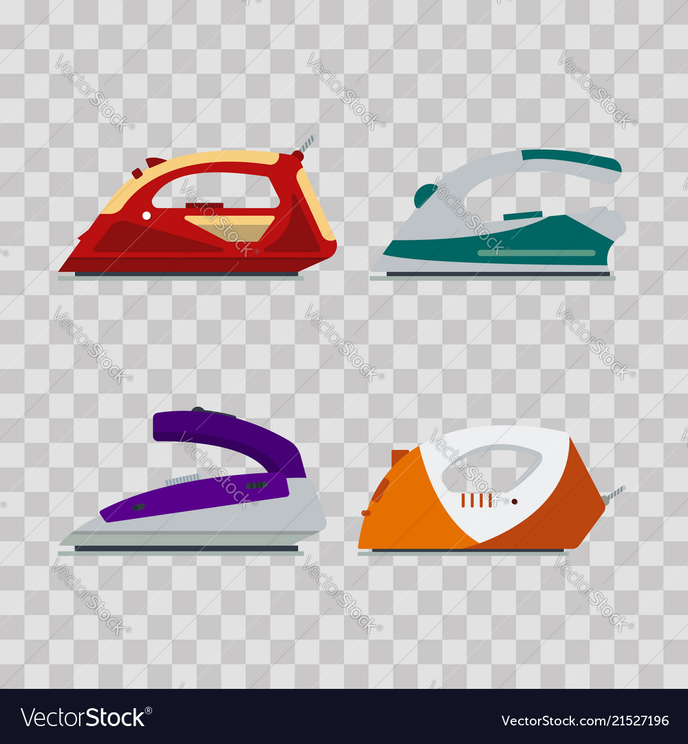 Set of colorful irons on transparent background