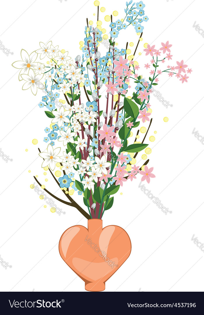Spring Flowers In A Vase Royalty Free Vector Image