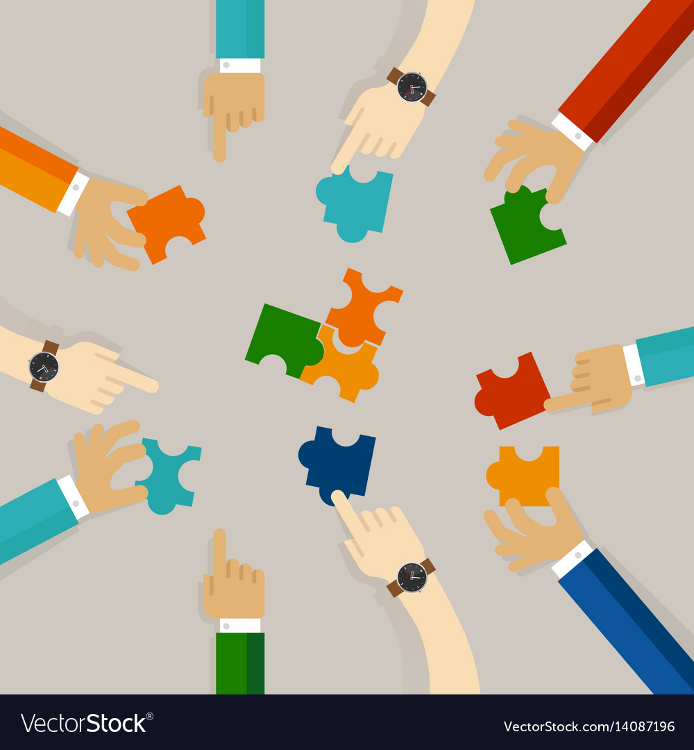 Team work hand holding pieces of jigsaw puzzle try