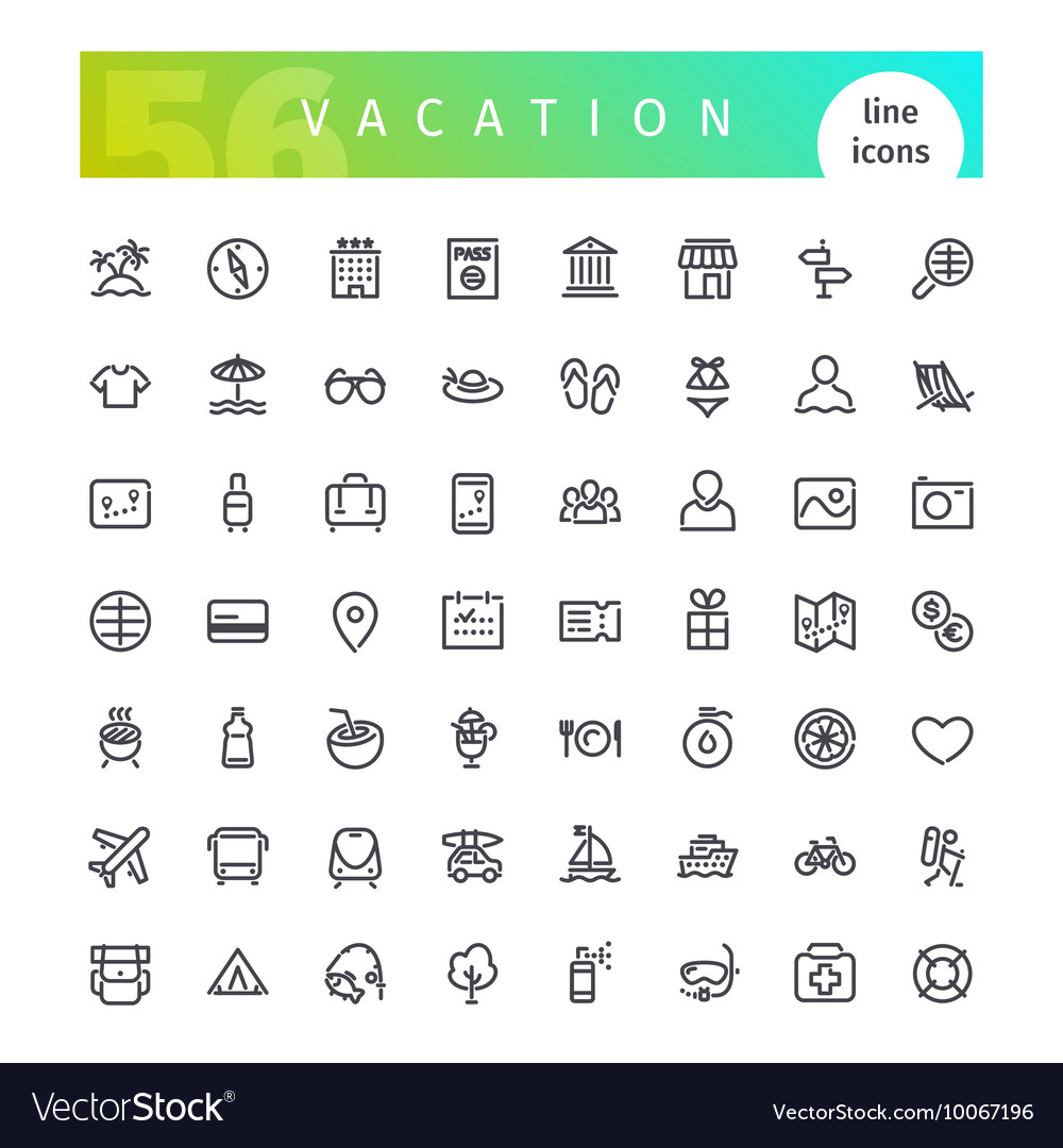 Vacation Line Icons Set