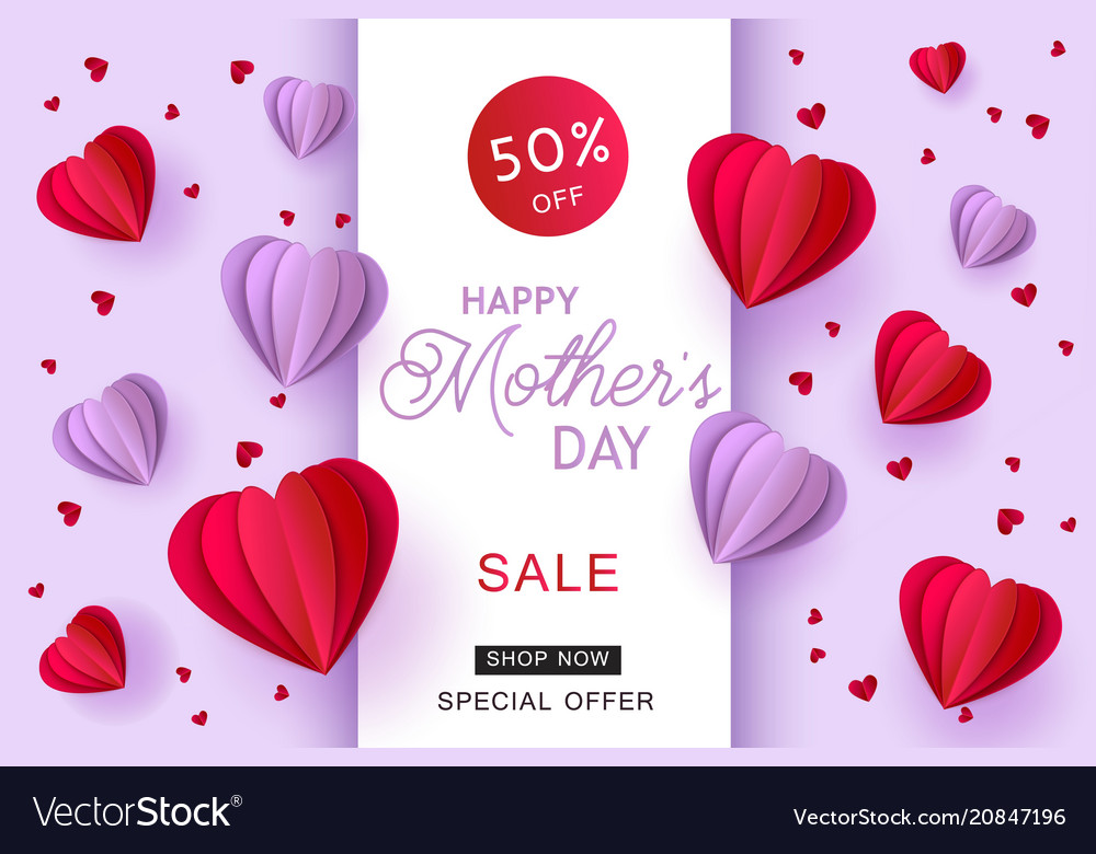 Violet And Red Folded Origami Paper Heart Shapes Vector Image