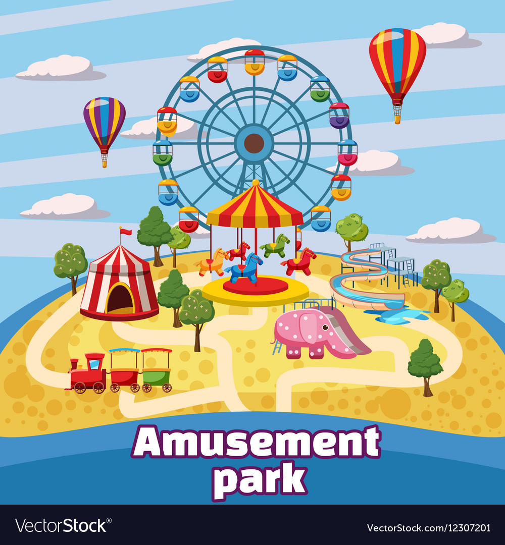Amusement park concept cartoon style