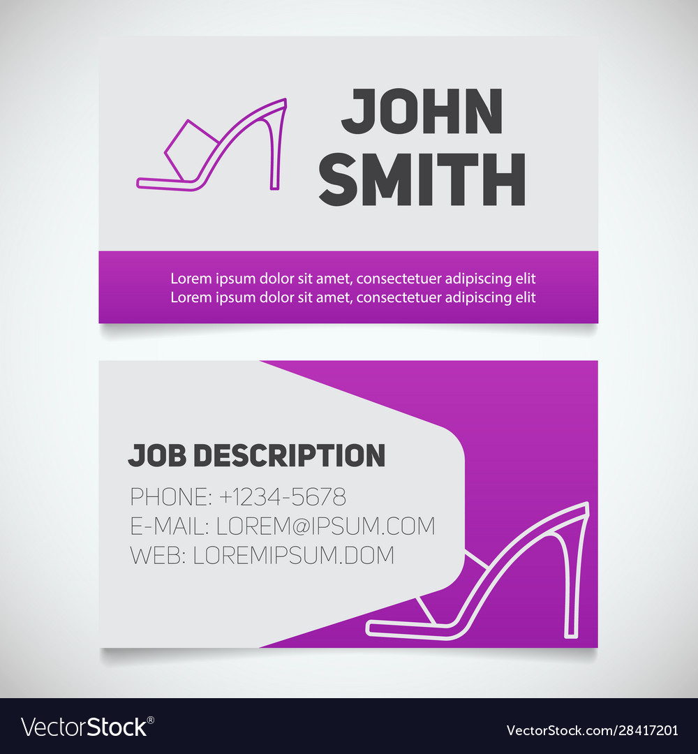 Business card print template with high heel shoe Vector Image Inside High Heel Template For Cards