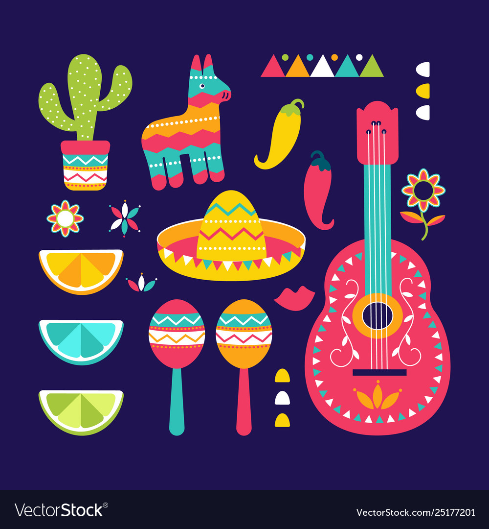 Cinco de mayo festival in mexico icon set set of