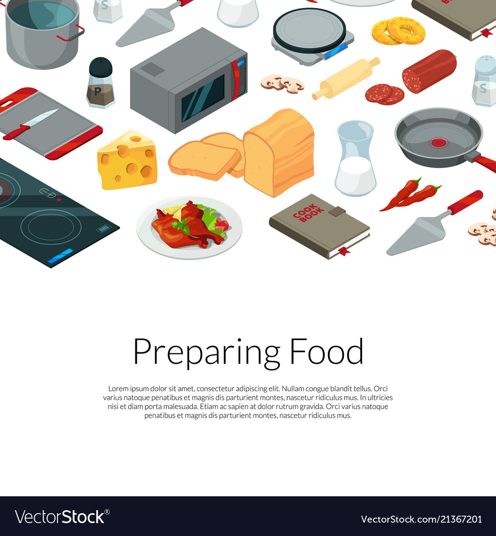 Cooking food isometric objects