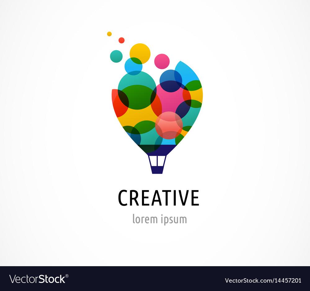 Creative colorful icon hot air balloon