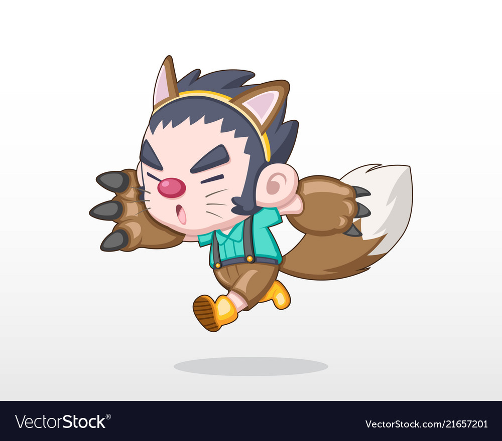Cute style child in werewolf costume