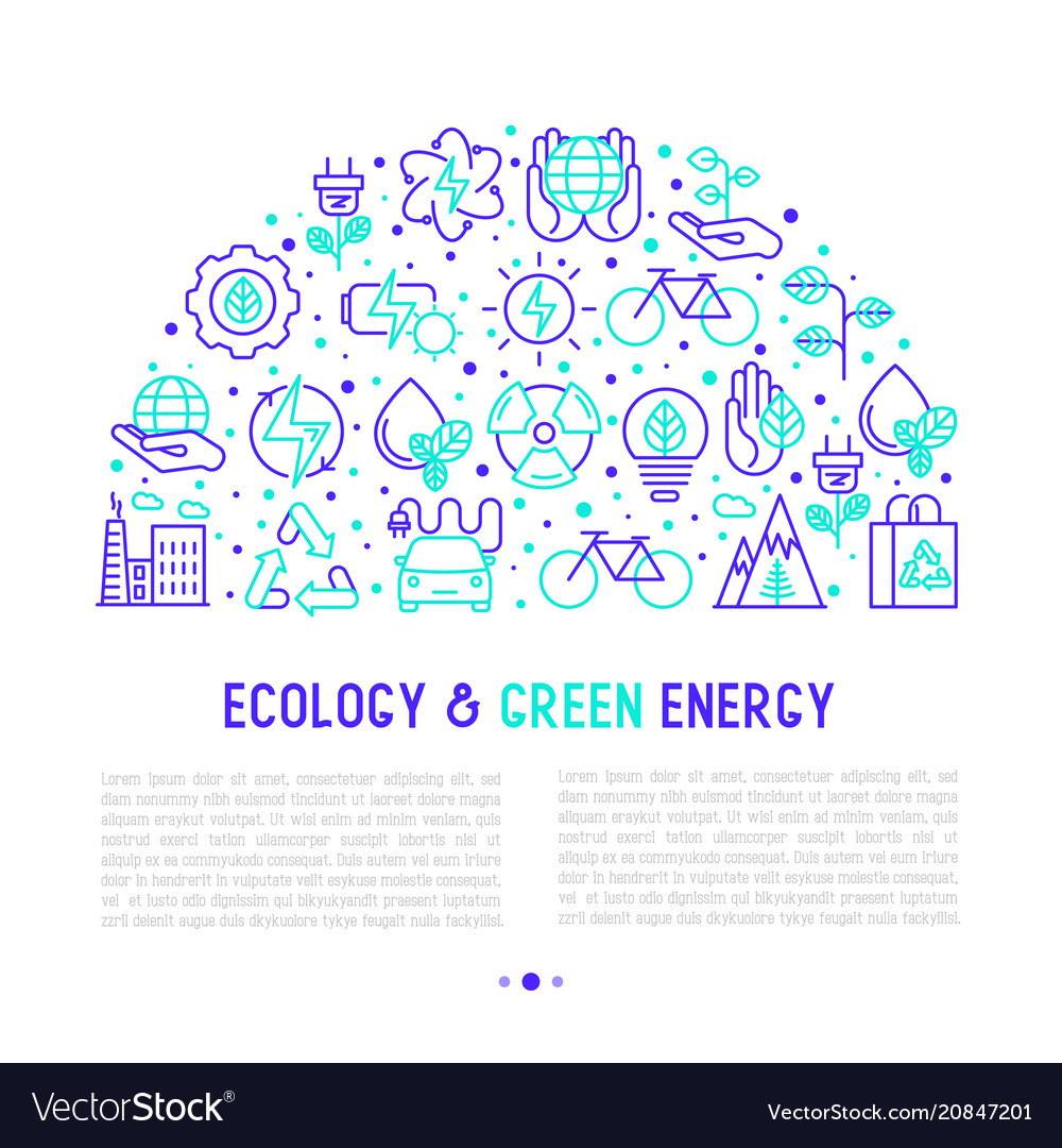 Ecology and green energy concept in half circle
