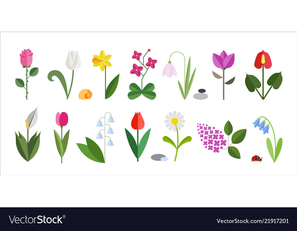 Flower flat icon set isolated on white cute