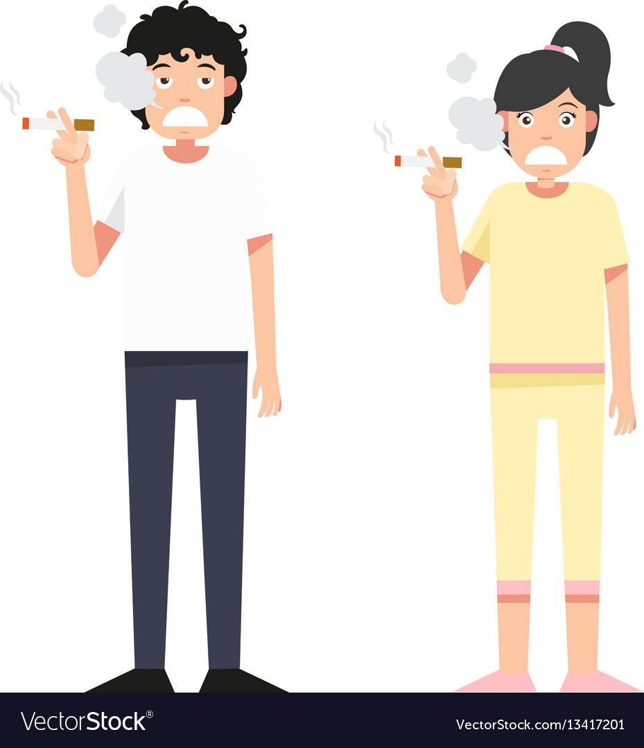 Isolated woman and man smoking a cigarett